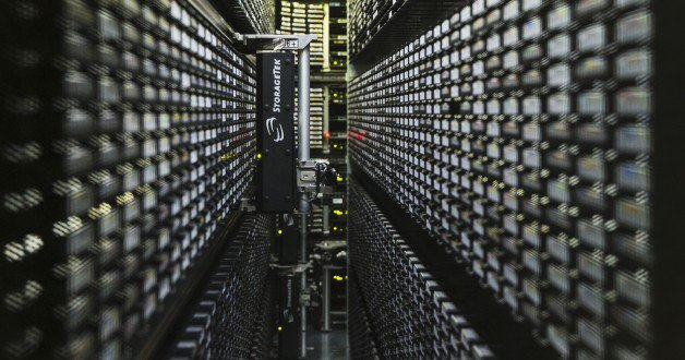 A robotic tape library used for mass storage of digital data is pictured at the Konrad-Zuse Centre for applied mathematics and computer science (ZIB), in Berlin